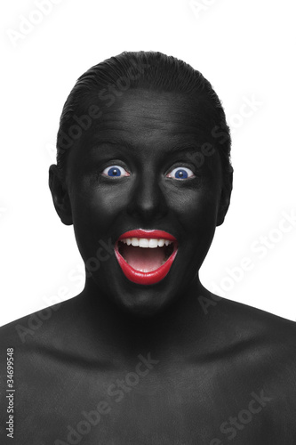 Poster Rouge, noir, blanc black face