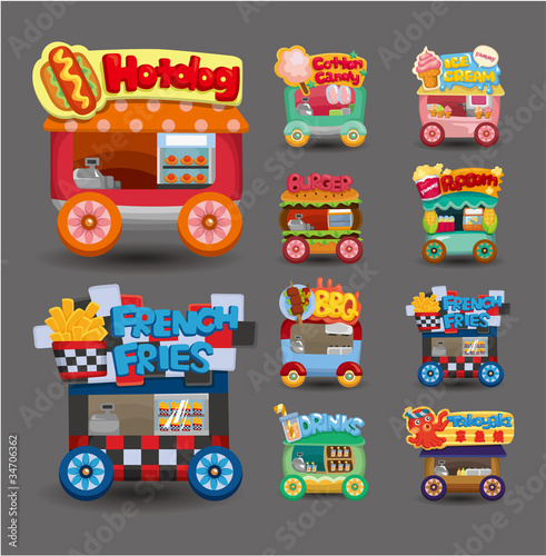Staande foto Cartoon cars Cartoon market store car icon collection