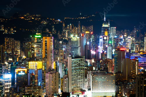 Photo  night view of Hong Kong