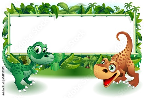 Poster Draw Dinosauri Cuccioli Giungla-Baby Dinosaur Jungle Background