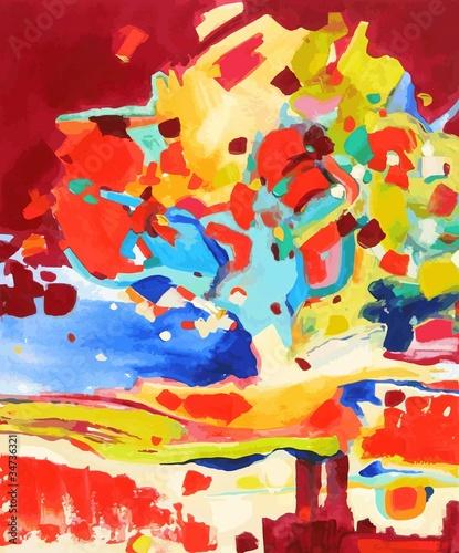 oil painting vector illustration