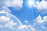 Fototapeta Tęcza - 青空と虹と太陽