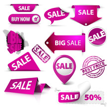 Collection Of Vector Purple Sale Tickets, Labels, Stamps
