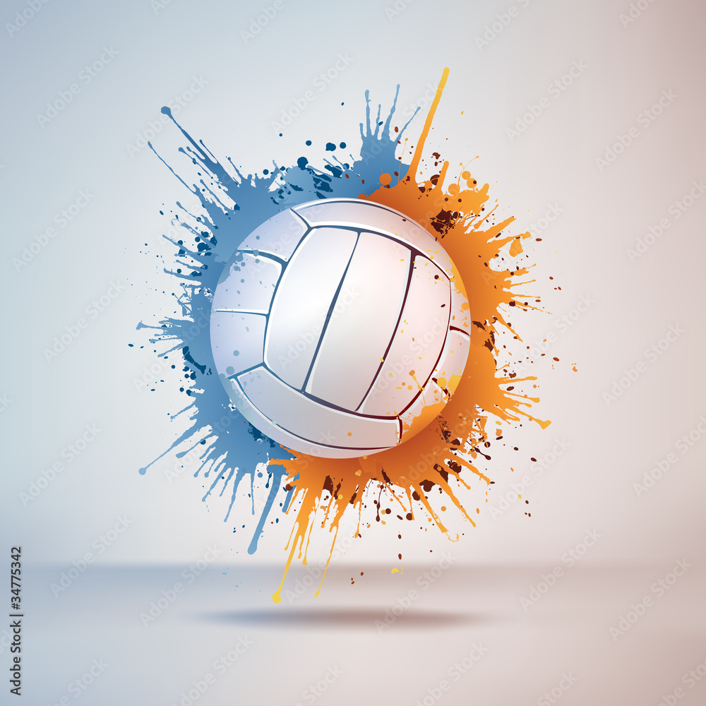 Photo  Volleyball Ball in Paint on Vignette Background. Vector.