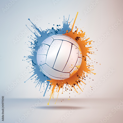 Volleyball Ball in Paint on Vignette Background. Vector. Poster