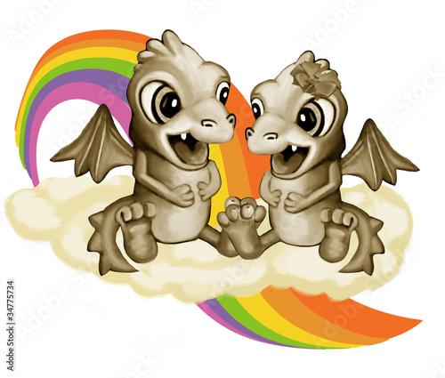 Foto op Canvas Draken Влюбленные драконы на облаке