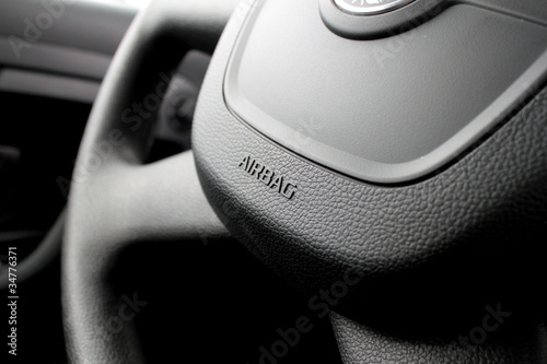 Airbag caption on the car wheel Canvas Print