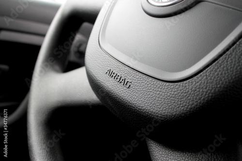 Airbag caption on the car wheel Wallpaper Mural