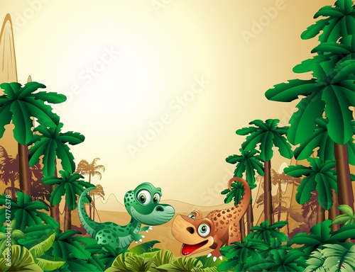 Poster de jardin Zoo Dinosauri Cuccioli Sfondo-Baby Dinosaur Tropical Background