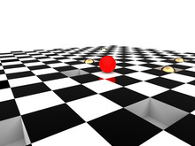 Red Ball On Checkerboard