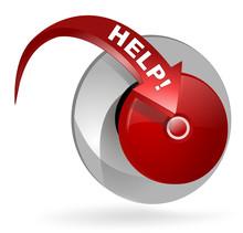 Help Sur Bouton Web 3d  Flêche Rouge