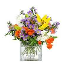 Colorful Flower Arrangement Centerpiece In Square Glass Vase