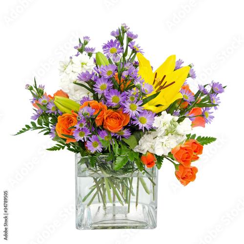 Fotografie, Obraz  Colorful flower arrangement centerpiece in square glass vase