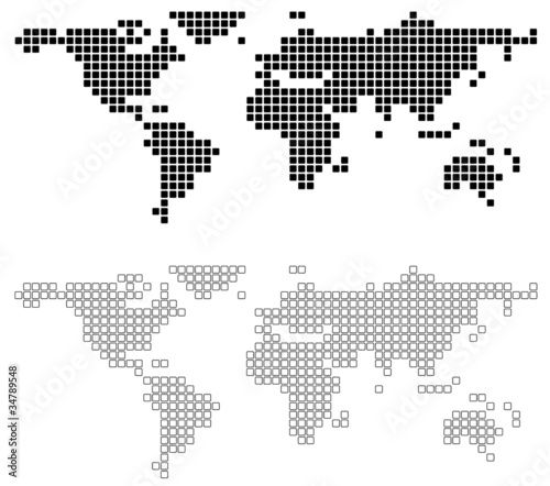 Deurstickers Wereldkaart Abstract World Map - background illustration