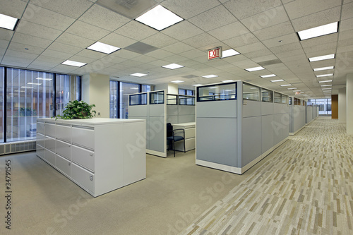 Fotografie, Obraz  Office area with cubicles