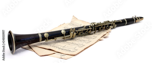 Canvas clarinet and music