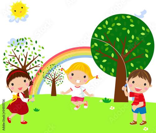 In de dag Regenboog playing children