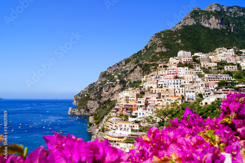 Panoramic view of Positano on the Amalfi Coast of Italy Wallpaper Mural