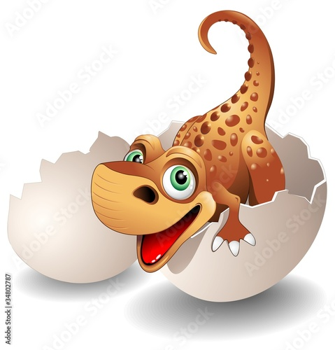 Recess Fitting Draw Dinosauro Neonato in Uovo-Baby Dinosaur on his Egg-Vector