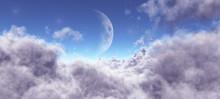 Moon Among The Purple Clouds