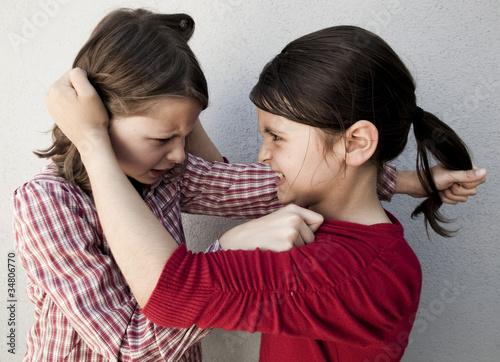 fillettes se tirant les cheveux Wallpaper Mural