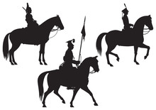 Cavalry Horse Riders Vector Silhouettes Part 2