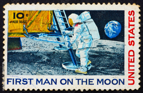 Postage stamp USA 1969 Man's 1st landing on the moon, Apollo 11 Canvas Print