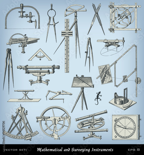 Engraving mathematical and surveying instrument set Canvas Print