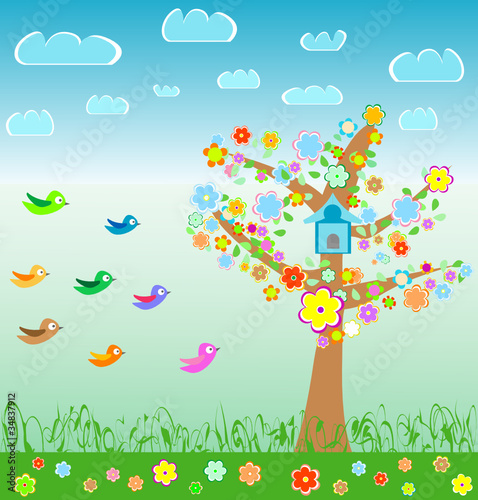 Wall Murals Birds, bees summer landscape with birds flower and tree