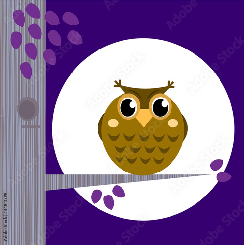 Photo sur Toile Oiseaux, Abeilles Cute Halloween Owl on Tree Branch with full moon behind.