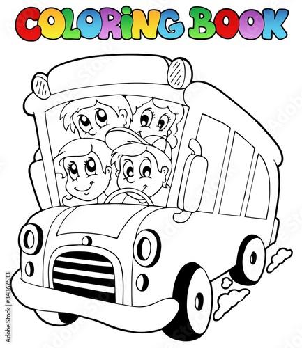 Türaufkleber Zum Malen Coloring book with bus and children
