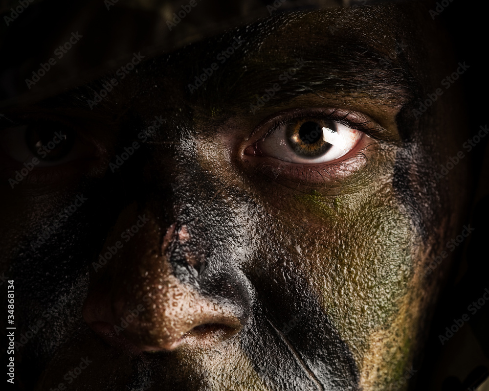 Fototapeta camouflage painted face