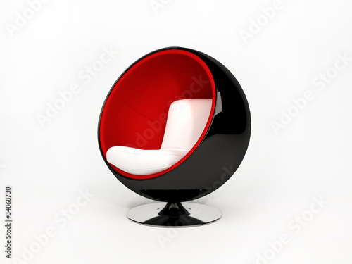 Fotografie, Obraz  Modern semicircular armchair isolated on white background