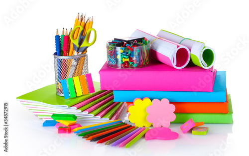 Fotografie, Obraz  bright stationery and books isolated on white
