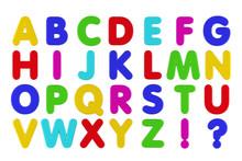 Fridge Magnet Alphabet Isolated Over White Background