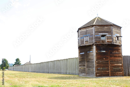 Photo sur Aluminium Fortification Old wood tower in a fort in Vancouver, WA