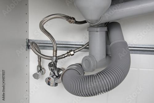 Canvastavla raccordement siphon évier robinet double