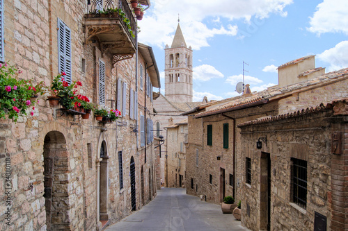 Canvas Prints Narrow alley Narrow medieval street in the hill town of Assisi