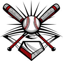 Baseball Or Softball Crossed Bats With Ball Image Template