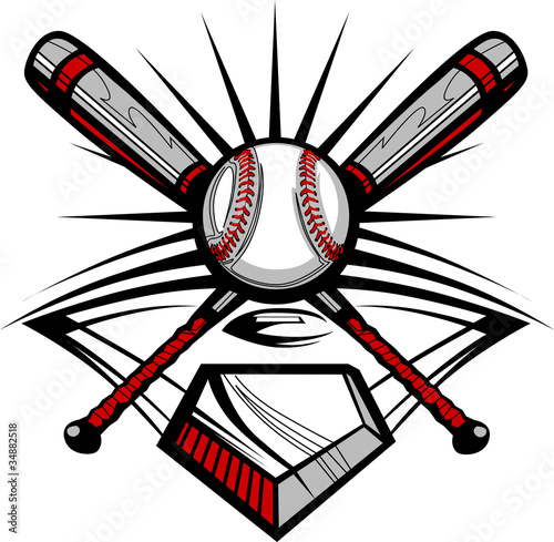Photo  Baseball or Softball Crossed Bats with Ball Image Template