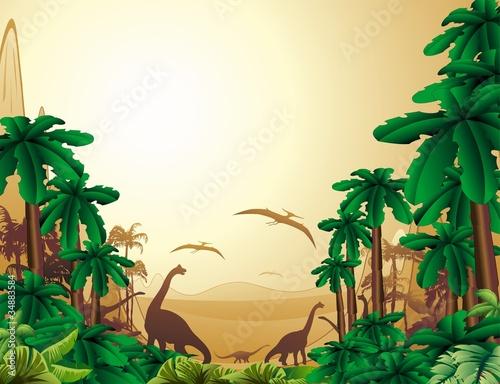 Autocollant pour porte Zoo Dinosauri Sfondo Giurassico-Dinosaurs Jurassic Landscape