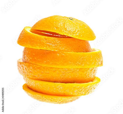 Photo Stands Slices of fruit Ripe orange isolated on white background