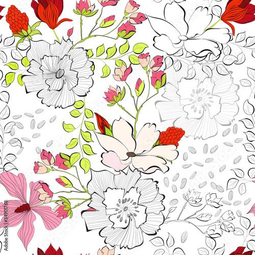 Keuken foto achterwand Abstract bloemen Seamless pattern with decorative flowers
