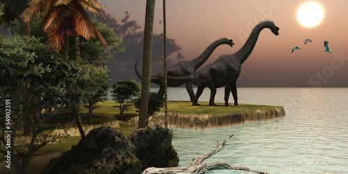 Plagát  Brachiosaurus Sunset