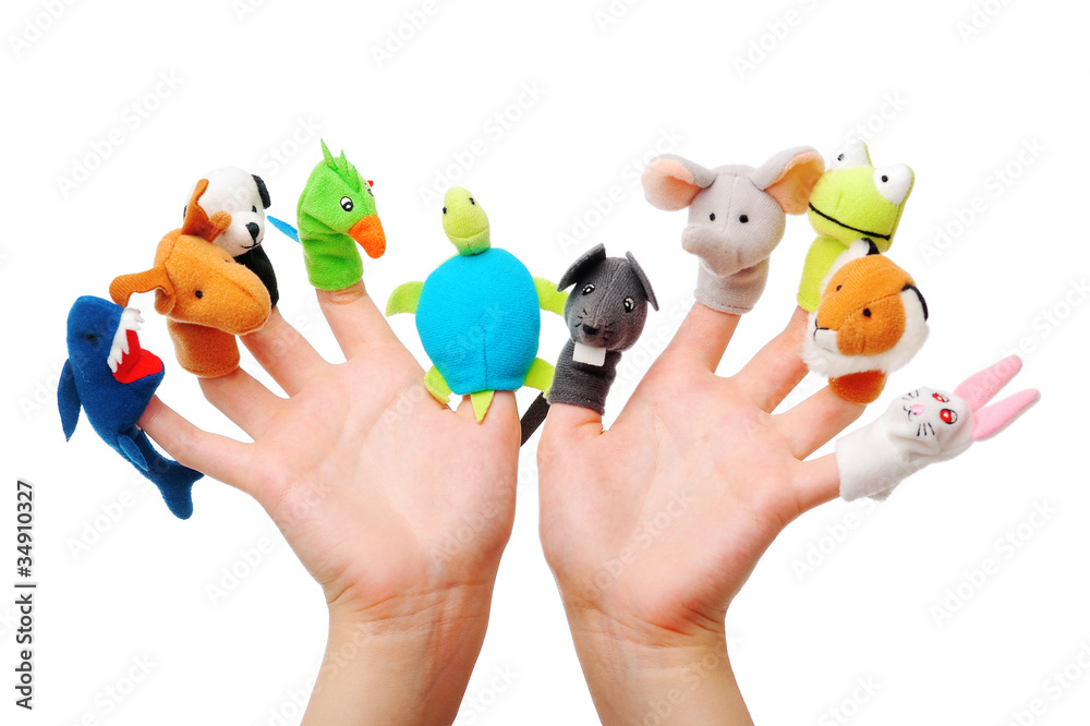 Female hand wearing 10 finger puppets
