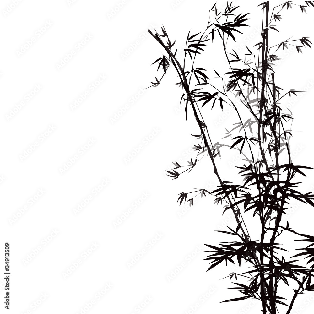 Abstract floral background with a bamboo.