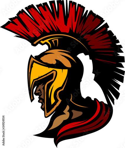Obraz na plátně Roman Centurion Mascot Head with Helmet Vector Graphic