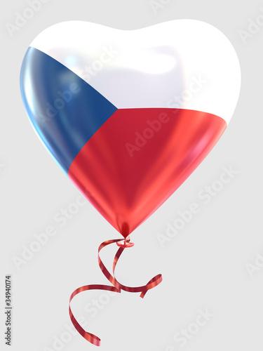Balloon shape heart flag country Czech Republic Poster