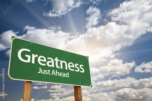 Greatness Green Road Sign Canvas Print