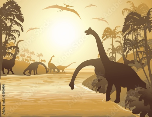 dinozaury-tropical-landscape-tropical-seascape-dinosaurs
